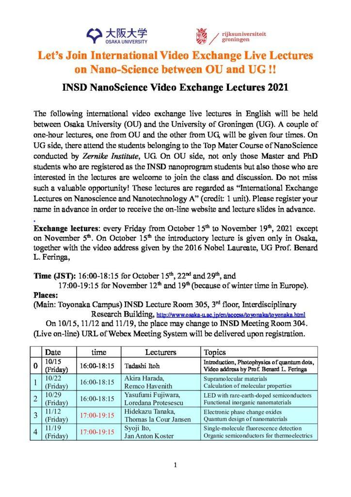 INSD NanoScience Video Exchange Lectures (2021, Groningen-Osaka)