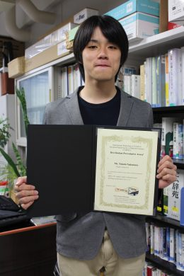 中村拓人さん International Workshop on Trends in Advanced Spectroscopy in Materials Science (TASPEC)にてBest Student Presentation Awardを受賞
